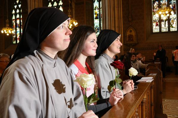 Franciscan Sisters and Maebh Corrigan at Rise of Roses launch in Armagh LIAM MAC ARDLE PIC 1 Feb 2015