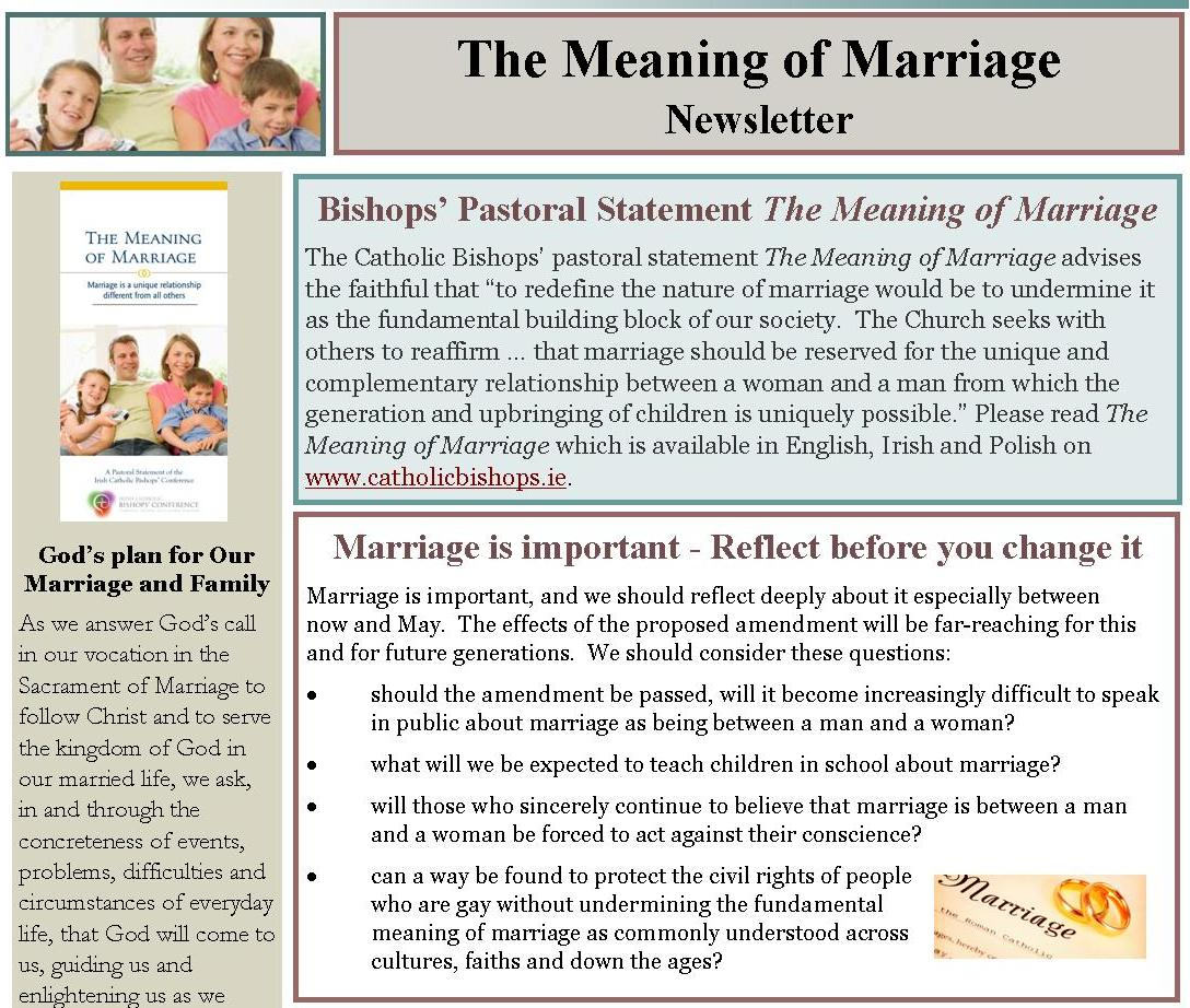 the meaning of marriage newsletter irish catholic bishops conference