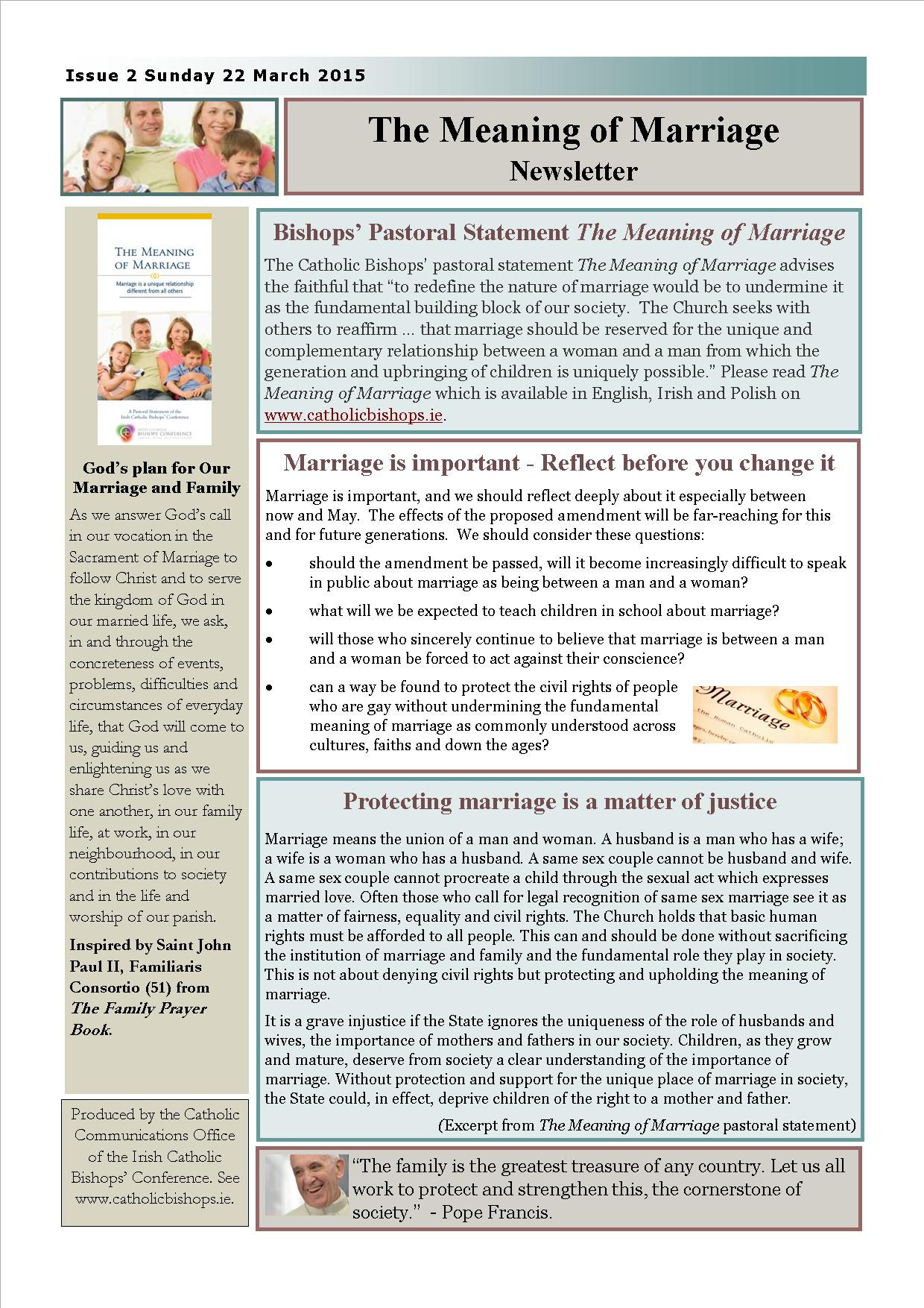 The Meaning of Marriage newsletter Issue 2 - 22 March 2015