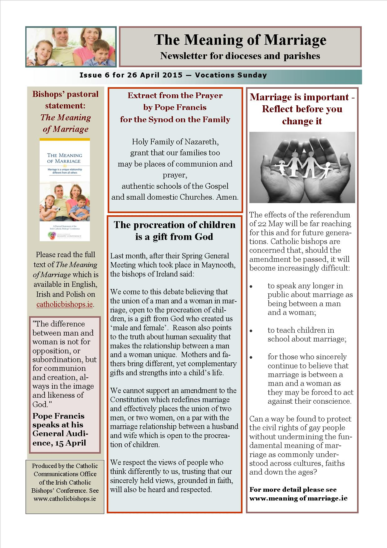 the meaning of marriage newsletters irish catholic bishops conference