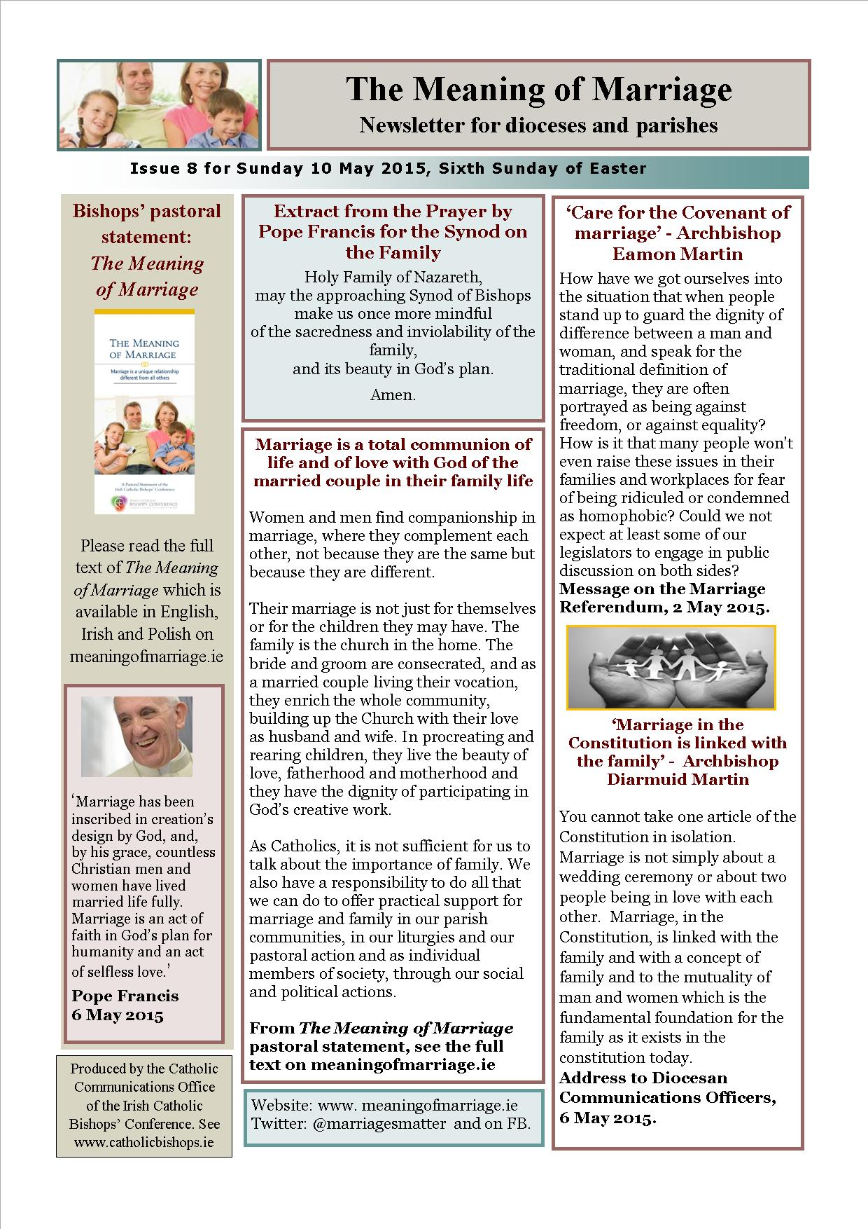 The Meaning of Marriage newsletter for Sunday 10 May 2015