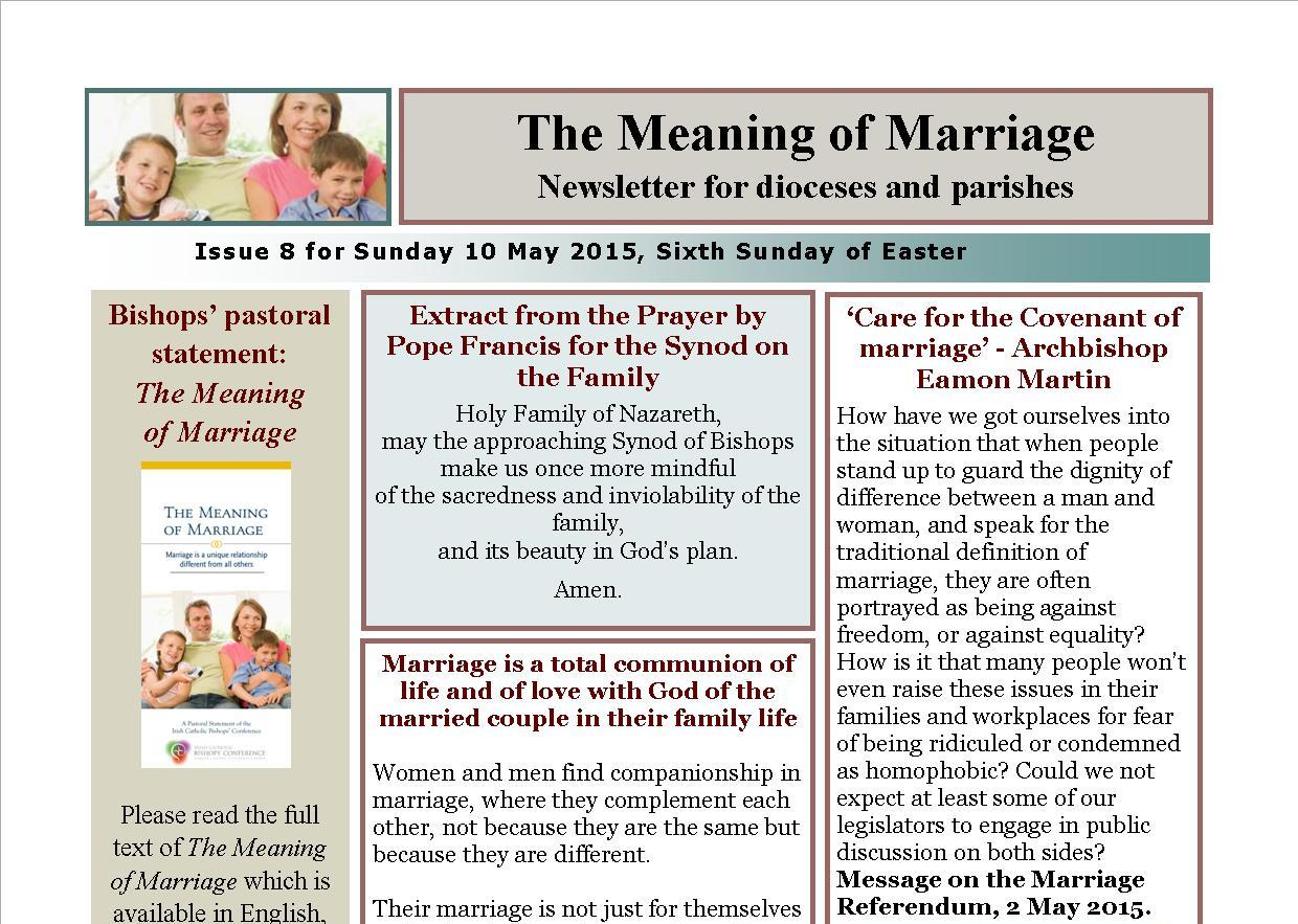the meaning of marriage newsletter for sunday 10 may 2015 irish