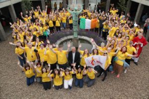 25.7.2016 DUBLIN YOUTH DEPART FOR WORLD YOUTH DAY IN POLAND. Today (25.7.16) 300 young people from throughout the Archdiocese of Dublin will join 1600 Irish pilgrims travelling to Krakow in Poland for the largest global gathering of young Catholics at World Youth Day 2016. Pope Francis is travelling to Poland to attend World Youth Day which is expected to attract Two million pilgrims. Despite it's name it's a week long event with hundreds of different aspects involving prayer, reflection, gathering and entertainment. The high point will be an open air mass next Sunday celebrated by Pope Francis. Before departing for Poland the Dublin pilgrims were joined by Archbishop Diarmuid Martin for a prayer service at the Dublin Airport Chapel. Pic shows Archbishop Diarmuid Martin with the Dublin pilgrims as they depart from Dublin Airport on Monday for World Youth Day in Krakow in Poland. Pic John Mc Elroy. NO REPRO FEE.